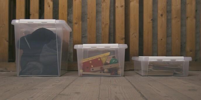 KATEGORISER: Bruk én boks til hver kategori. På den måten blir boden mye mer oversiktlig.