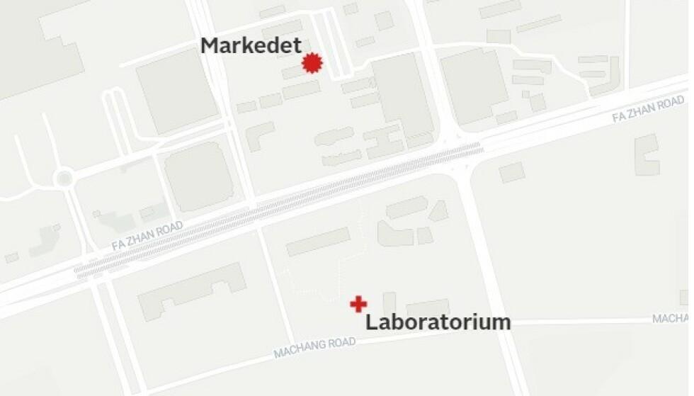 500 METER: CDC-laboratoriet i Wuhan og markedet hvor det første episenteret for smitte var, ligger bare noen hundre meter fra hverandre. Foto: Wuhan Center for Disease Control / Peter Møller, danske TV2