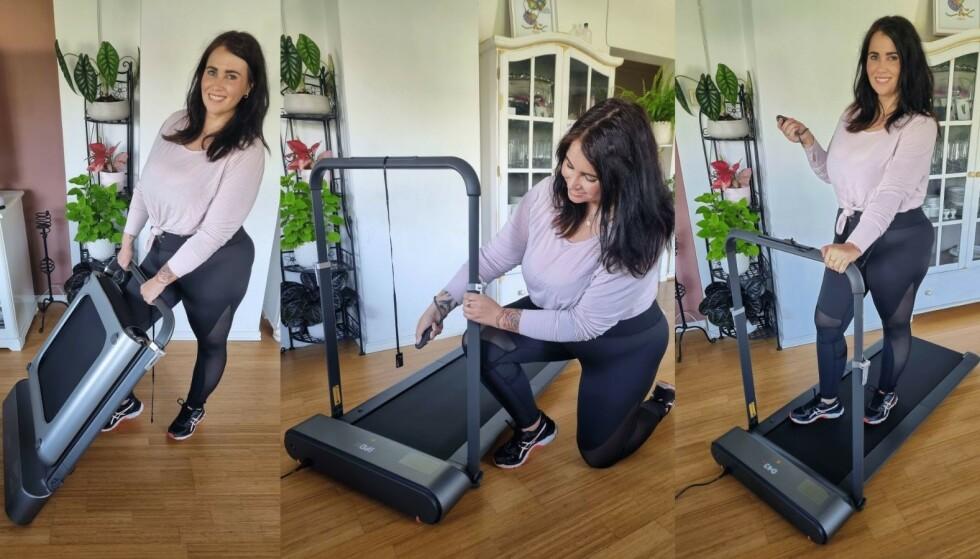 De lette og brettbare Walkingpad-tredemøllene settes enkelt opp og kan brukes hvor som helst i huset. Her viser personlig trener Helene Drage hvordan hennes modell monteres.