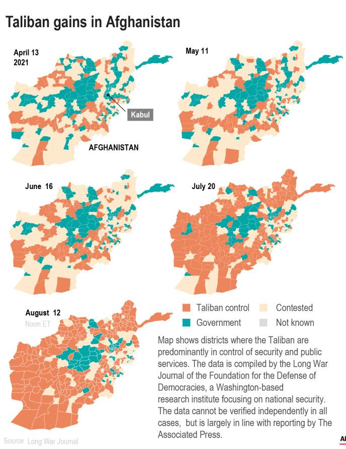 KART: Kartet viser områder Taliban gradvis har erobret, oppdatert 12. august. Grafikk: AP/NTB