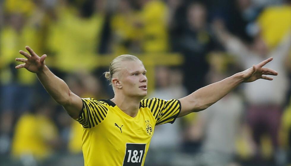 FEIRER: Erling Braut Haaland har allerede feiret fem scoringer denne sesongen. Foto: Reuters