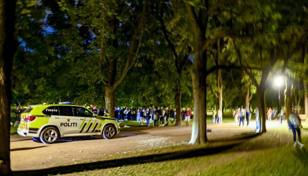 FEST IGJEN: Frognerparken i Oslo er blant stedene hvor det har vært fest natt til søndag. Dette bildet er fra fredag kveld. Foto: Annika Byrde / NTB