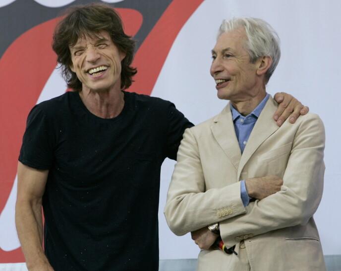 LEGENDER: Mick Jagger og Charlie Watts er begge høyt respekterte musikere og rockere. Foto: Reuters / NTB