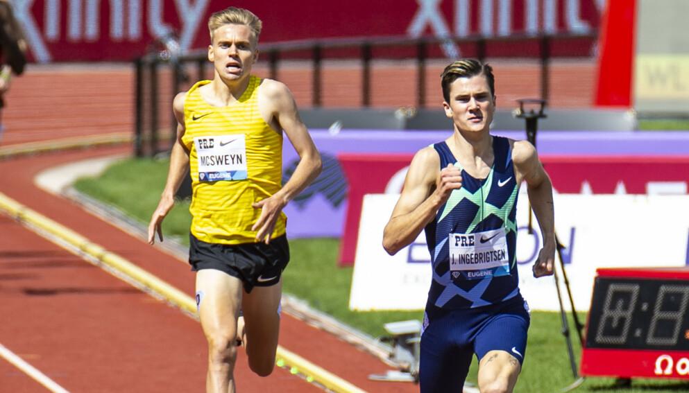 KJEMPER: Den australske løperen Stewart McSweyn var nærmest da Jakob Ingebrigtsen løp inn til ny familierekord på «Bowerman Mile» under Diamond League-stevnet i Eugene nylig. Foto: NTB