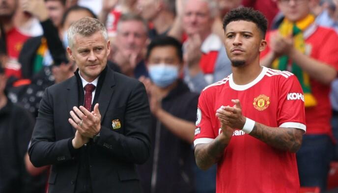 GOT HIS MAN: Ole Gunnar Solskjær and Man United finally sealed Jadon Sancho's transfer from Borussia Dortmund. Foto: Adrian DENNIS / AFP
