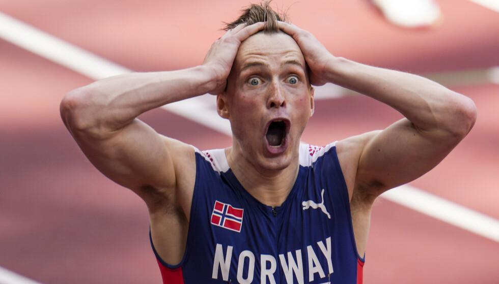KNUST: Karsten Warholm ble knust av konkurrentene på 400 meter flatt i Lausanne. Foto: NTB