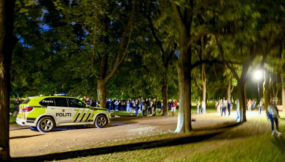 BRÅK: Det er mye festbråk og slåssing landet rundt natt til søndag, både på private adresser og i parker. Her fra en større samling i Frongerparken tidligere i august. Foto: Foto: Annika Byrde / NTB