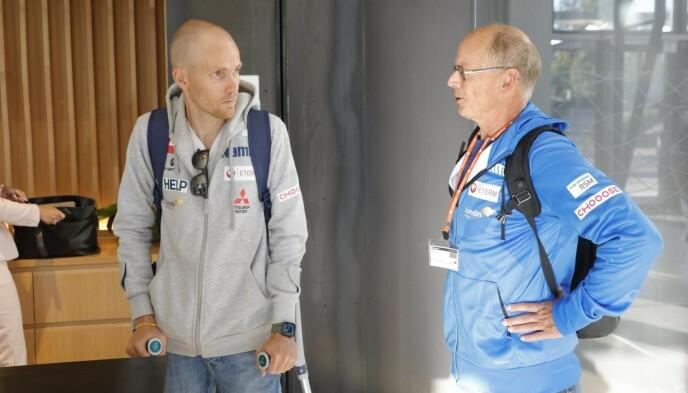 MARKEDSSJEF: Hoppernes markedssjef, Bjørn Einar Romøren, deltok på møtet. Til høyre, hoppkomiteleder Alf Tore Haug. Foto: Nina Hansen
