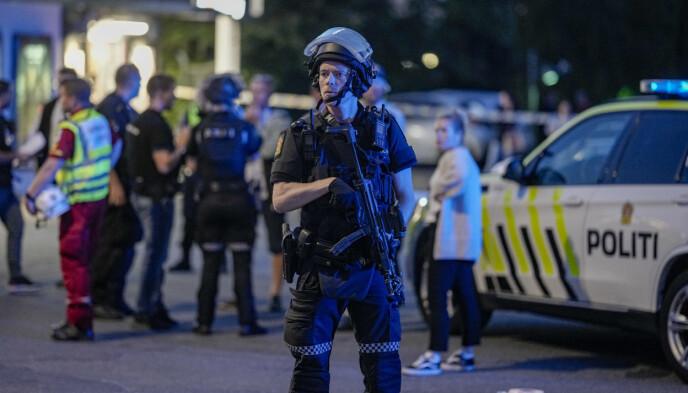 ALVORLIG SKADD: En person er skutt ved Brynseng T-banestasjon i Oslo. Foto: Fredrik Hagen / NTB