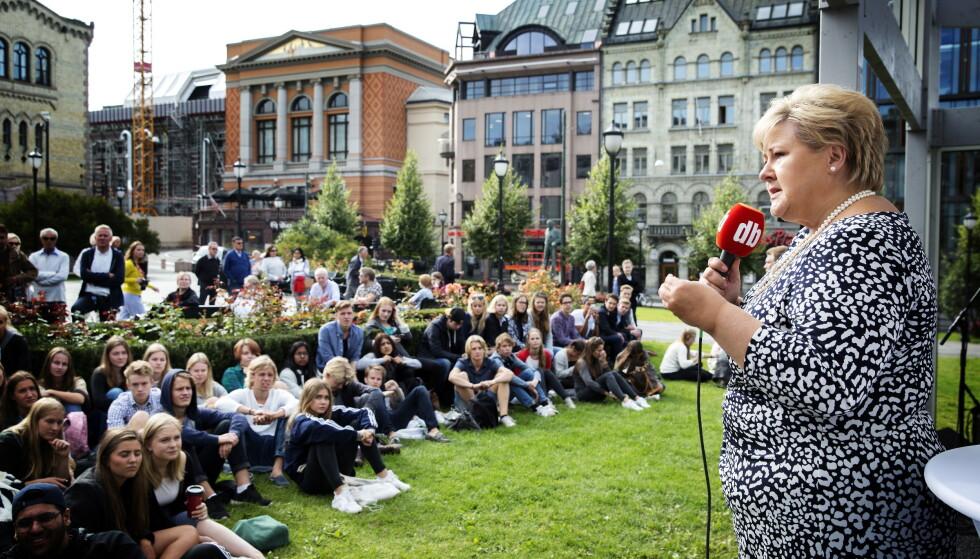 LØVEBAKKEN 2015: Premier Erna Solberg in actie vanuit Valgboden.  Foto: Nina Hansen