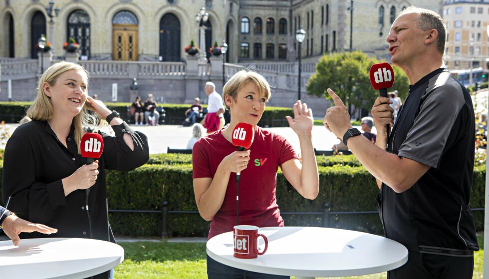 DEBATT: Tina Bru (H), Ketil Solvik-Olsen (Frp) og Kari Elisabeth Kaski (SV) møttes til debatt på den første dagen med valgboden til Dagbladet, på Eidsvoll plass. Foto: Frank Karlsen/ Dagbladet