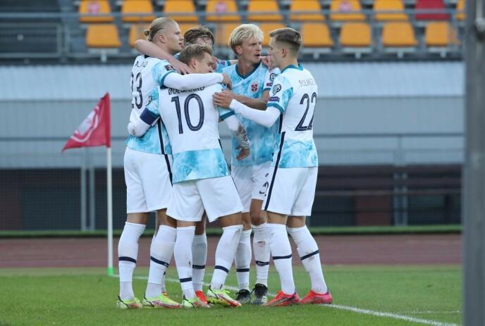 JUBEL: Norge vant 2-0. Foto: Bjørn Langsem / Dagbladet