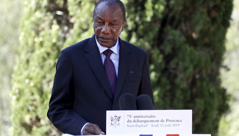 AVSATT: Guineas president Alpha Condé (bildet) er avsatt i et kupp. Arkivfoto: AP / NTB