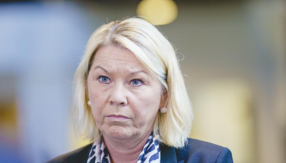 UAKSEPTABELT: Justis- og beredskapsminister Monica Mæland reagerer på at Ap og AUF har vært utsatt for flere voldshendelser den siste tiden. Hun understreker viktigheten av at politiet følger opp hendelser som dette. Foto: Stian Lysberg Solum / NTB