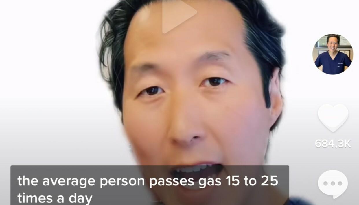 SÅ OFTE PROMPER VI: Hver person promper i gjennomsnitt 15-25 ganger daglig, sier Dr. Youn. Skjermdump: TikTok