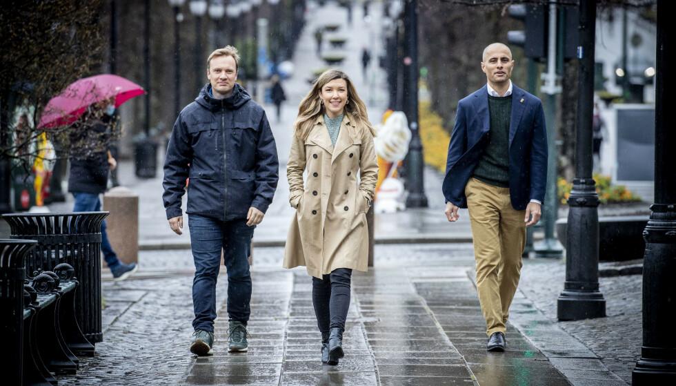 EL PARLAMENTO: Los ex trabajadores de inteligencia Bård Ludvig Thorheim (izquierda) y Mahmoud Farahmand ingresarán al Storting después de las elecciones, como representantes del Storting por el Partido Conservador.  En la foto, con la asesora de políticas de justicia del grupo parlamentario conservador, Anna Irene Molberg.  Fotografía: Bjørn Langsem / Dagbladet