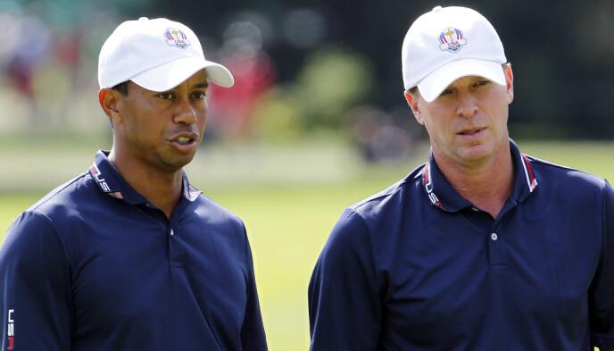 DUO: Tiger Woods (t.v) og Steve Stricker (t.h) under Ryder Cup i 2012. Foto: Frank Polich