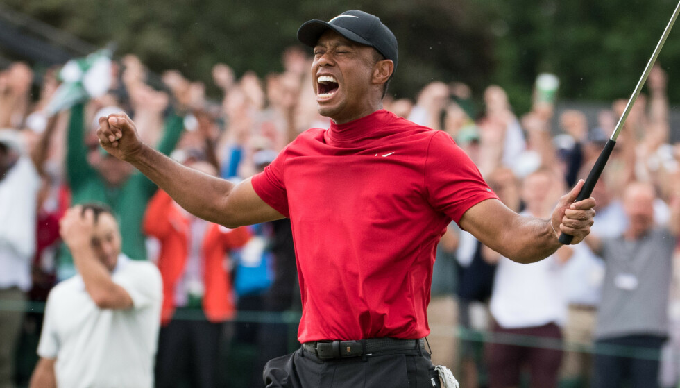 IKONISK: Øyeblikket Tiger vant Masters på Augusta National. Foto: Kevin Dietsch