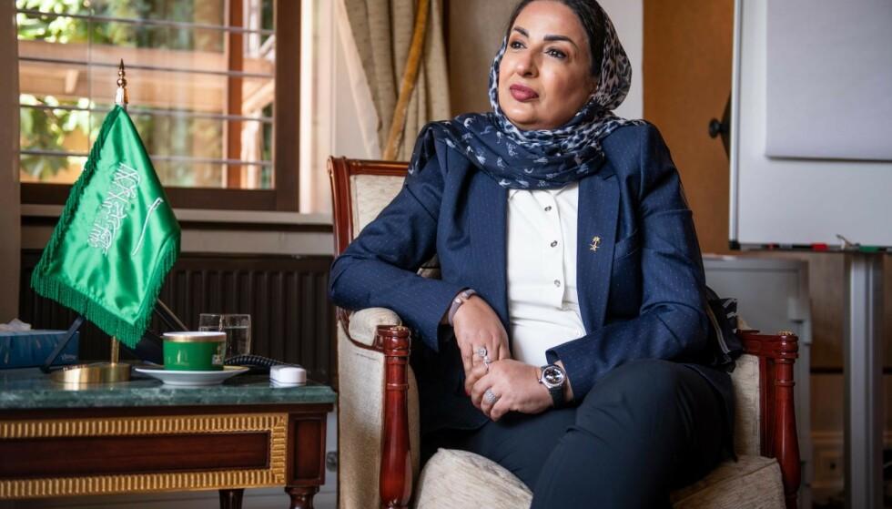 KRITISK: Ambassadør Amal Al-Moallimi sier hun ikke har kjennskap til Muslim World Leagues tidligere arrangementer i Skandinavia, og hun er kritisk til det bildet hun sier er skapt av Saudi-Arabia som versting på menneskerettigheter. Foto: Lars EIvind Bones