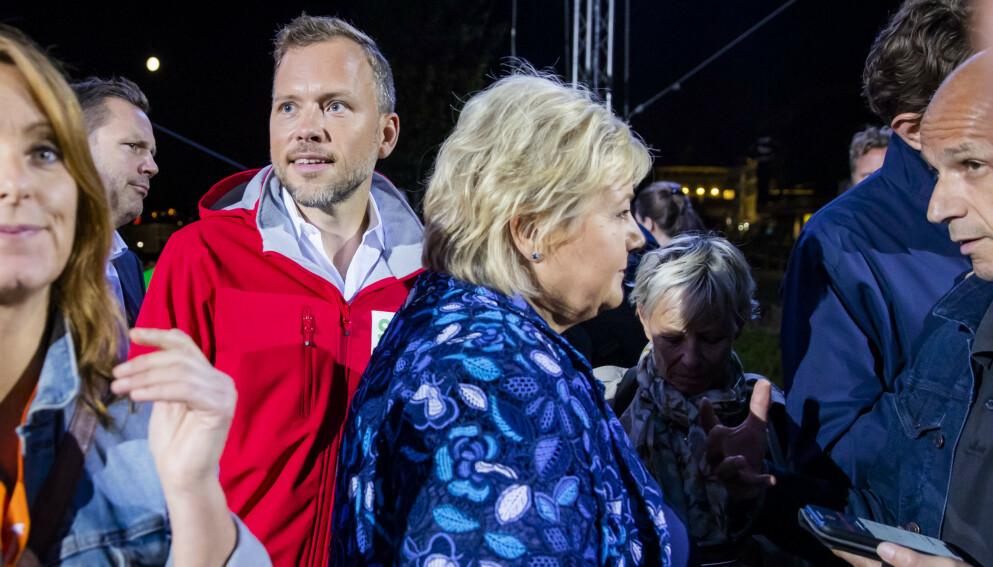 BRØYTER SEG FRAM: SV-leder Audun Lysbakken ser ut til å kunne bli valgets store vinner. Foto: Håkon Mosvold Larsen / NTB