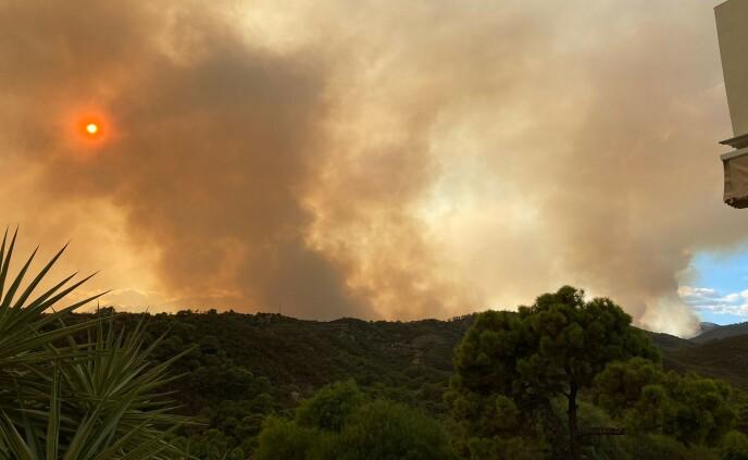RØYKDEKKE: Ekteparet ser rett på den store skogbrannen fra området der de bor. Foto: www.monteselwo.eu