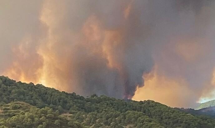 VINDSTILLE: Vinden har roet seg, og røyken står rett opp i været, ifølge Johnny Stahl. Foto: www.monteselwo.eu