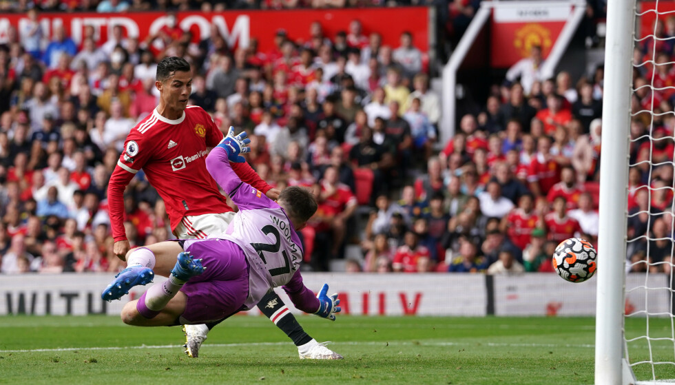 SCORING: Her setter Cristiano Ronaldo sitt første mål på 12 år for Manchester United. Foto: NTB