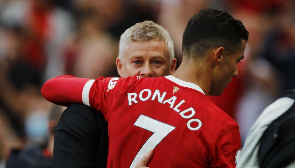 DUO: Ole Gunnar Solskjær og Cristiano Ronaldo etter lørdagens seier. Foto: REUTERS/Phil Noble