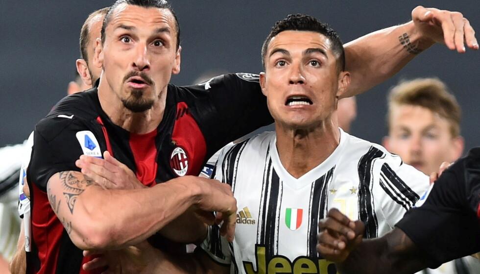 KAMPHANER: Zlatan Ibrahimovic mener han er like god som Cristiano Ronaldo. FOTO: REUTERS/Massimo Pinca/File Photo
