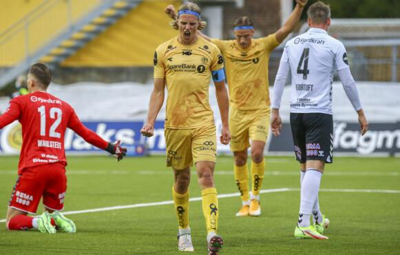 SCORET: Bodø/Glimt-kaptein Ulrik Saltnes jubler etter å ha sendt Glimt i ledelsen. Foto: Mats Torbergsen / NTB
