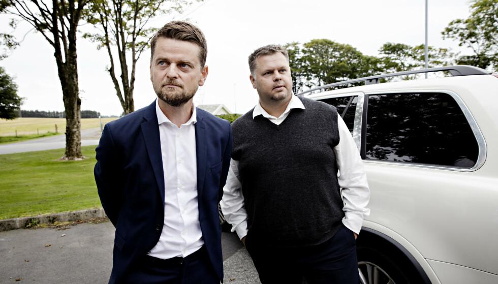 FORSVARERE: Stian Kristensen (t.v.) og Stian Bråstein (t.h.) fra advokatfirmaet Adius forsvarer den siktede mannen. Foto: Kristian Ridder-Nielsen / Dagbladet