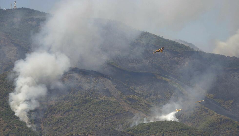 SLUKKING: Flere brannfly jobber intenst for å få slukket skogbrannen i fjellene nær Estepona. Foto: Álex Zea / AP / NTB