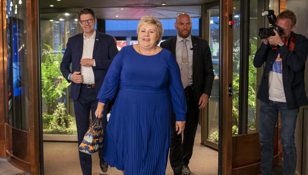 VIL TA FYR: Samtidig er det nå liten tvil om at Erna snarlig er fjerna. Både som statsminister og høyst trolig også som Høyre-leder. Allerede i kveld vil spekulasjonene om hvem som skal overta som leder av Høyre ta fyr. Foto: Heiko Junge / NTB