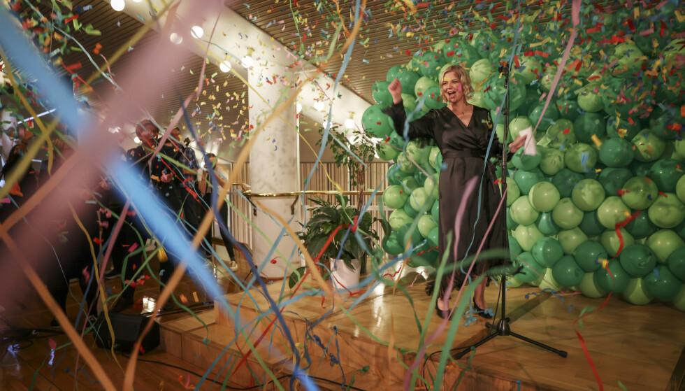 «DET GIKK!»: Det ropte Venstre-leder Guri Melby da prognosene endelig vippet over sperregrensen mandag kveld. Foto: Kristian Ridder-Nielsen / Dagbladet