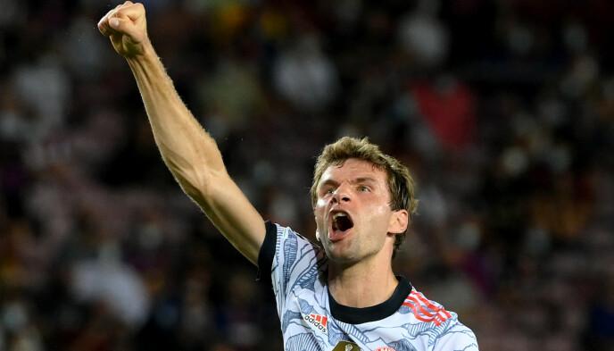 FEIRET: Thomas Müller jubler etter sin 0-1-scoring. Foto: AFP