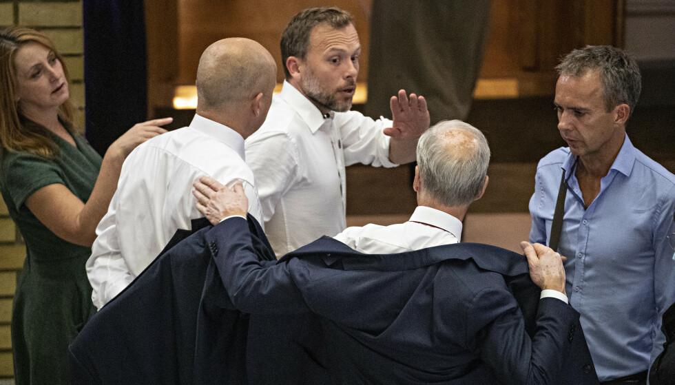FORHANDLINGER: Støre, Vedum og Lysbakken møtes til samtaler i morgen. Foto: Bjørn Langsem / Dagbladet