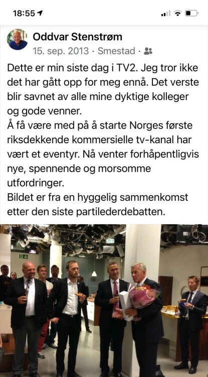 SISTE SENDING: Det er i dag nøyaktig 8 år siden Oddvar Stenstrøm sluttet i TV 2. Det skjedde etter at han hadde ledet den siste partilederdebatten før stortingsvalget i 2013.