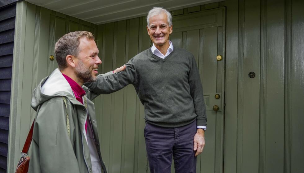 SAMARBEID: SV-leder Audun Lysbakken møtte Jonas Gahr Støre for samtaler om regjeringssamarbeid forrige torsdag. Foto: Heiko Junge / NTB