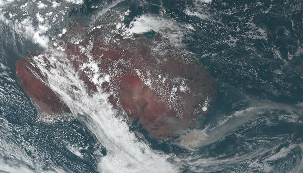 DOBBELT SÅ ILLE: En ny studie viser at utslippene fra brannene var dobbelt så ille som tidligere antatt. Her viser et satelittbilde røyk fra brannene som driver fra kysten av Australia i januar 2020. Foto: Japan Meteorological Agency / AFP / NTB