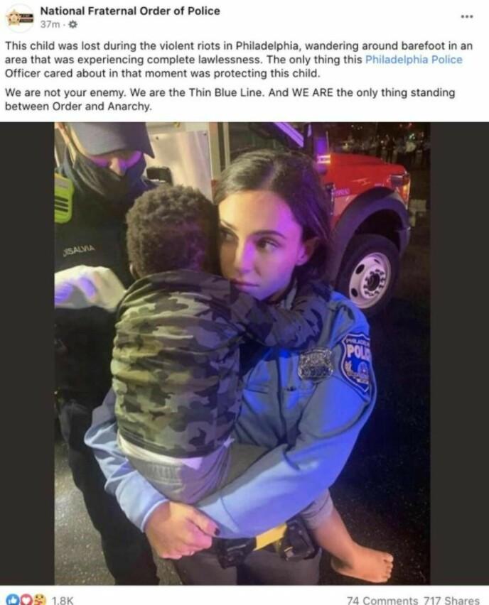 FACEBOOK: Bildet ble publisert i et Facebook-innlegg av The Fraternal Order of Police. Dette var posten i sin helhet. Foto: Skjermbilde/ The Fraternal Order of Police/ Facebook