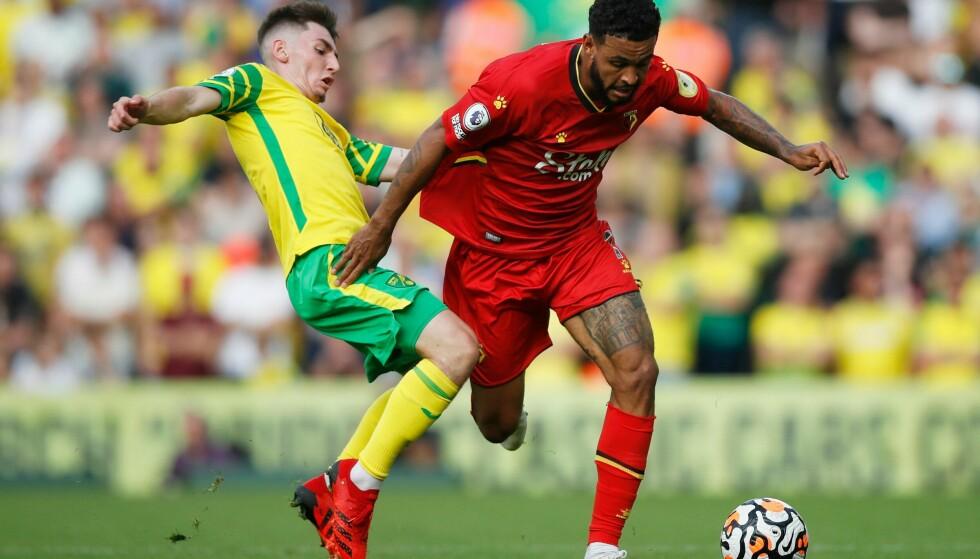 ASSIST: Joshua King var involvert i to scoringer for Watford da Norwich ble slått 3-1. Foto: Reuters/Matthew Childs