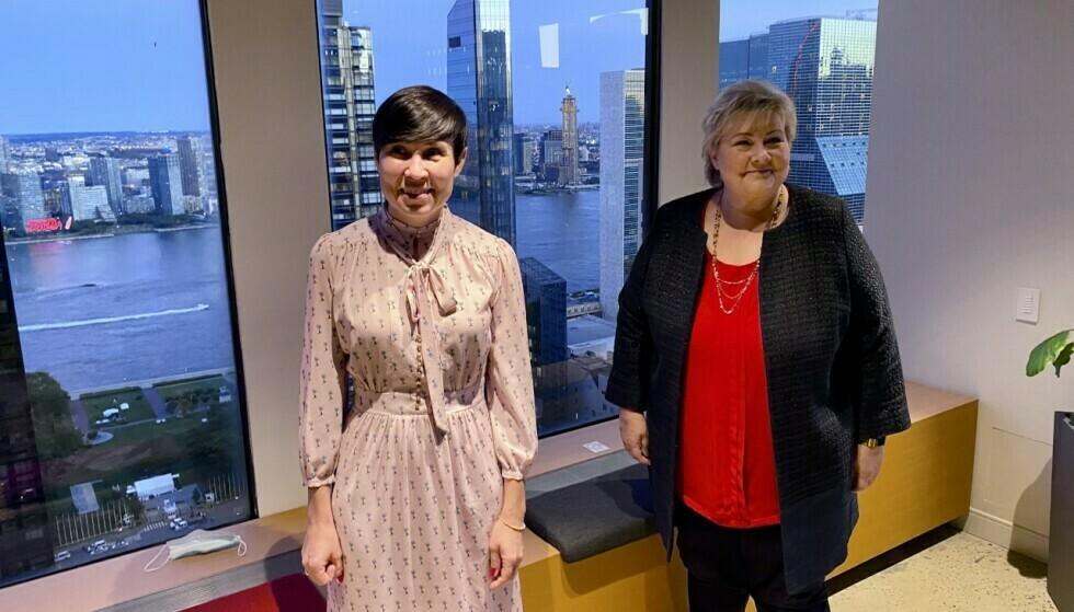 PÅ JOBB: Statsminister Erna Solberg og utenriksminister Ine Eriksen Søreide er på plass i New York. Foto: Vegard Kristiansen Kvaale / Dagbladet