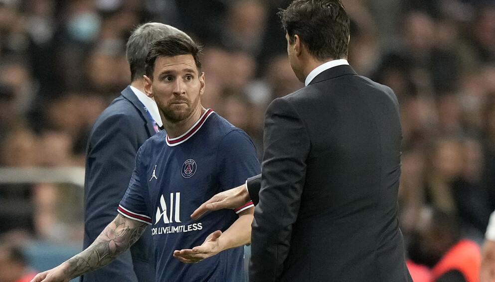 BYTTET UT: Lionel Messi ble byttet ut av landsmann Mauricio Pochettino da Paris Saint-Germain jaktet scoring på hjemmebane mot Lyon. Foto: Francois Mori / AP / NTB