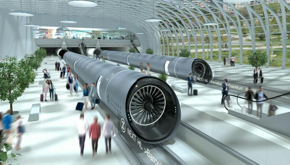 HYPERLOOP: Hvis Hyperloop-utviklerne får det som de vil, kan togstasjoner som disse dukke opp i Europa innen 2030. Foto: Zeleros