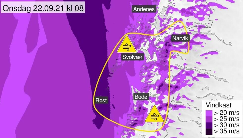 KRAFTIG VIND: Det er ventet vindkast på over 30 sekundmeter flere steder i Nord-Norge onsdag. Foto: Meteorologisk institutt