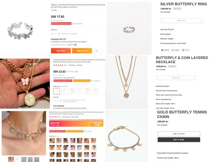 LIKE PRODUKTER: Produktene fra Raad og Louis' nettbutikk finnes også tilsynelatende på AliExpress - men til langt lavere pris. Foto: Skjermdump AliExpress/TrendyThings
