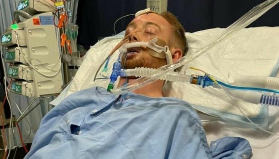 FORTSATT KRITISK TILSTAND: Danny Hodgson har våknet fra koma og reagerer på forskjellige kommandoer. Tilstanden er fortsatt kritisk. Foto: Facebook/privat