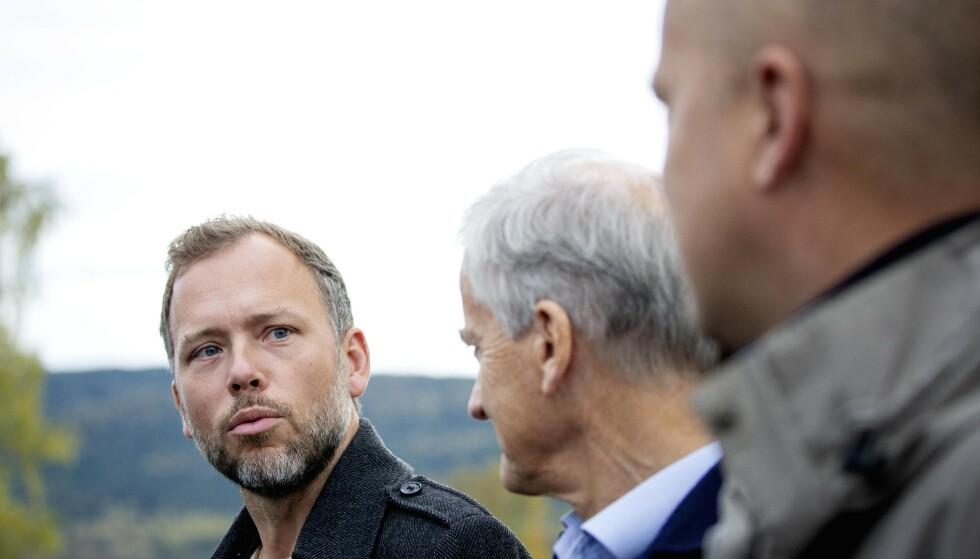 SKAL SONDERE: Audun Lysbakken (SV) , Jonas Gahr Støre ( Ap) og Trygve Slagsvold Vedum (Sp) møttes til sonderinger på Hurdalsjøen Hotell i dag. Foto: Nina Hansen