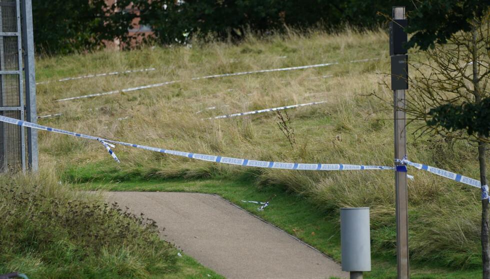 ÅSTEDET: Polititape i Cator Park i bydelen Kidbrooke sør i London hvor Sabina Nessa ble funnet. Foto: Ian West /PA /NTB