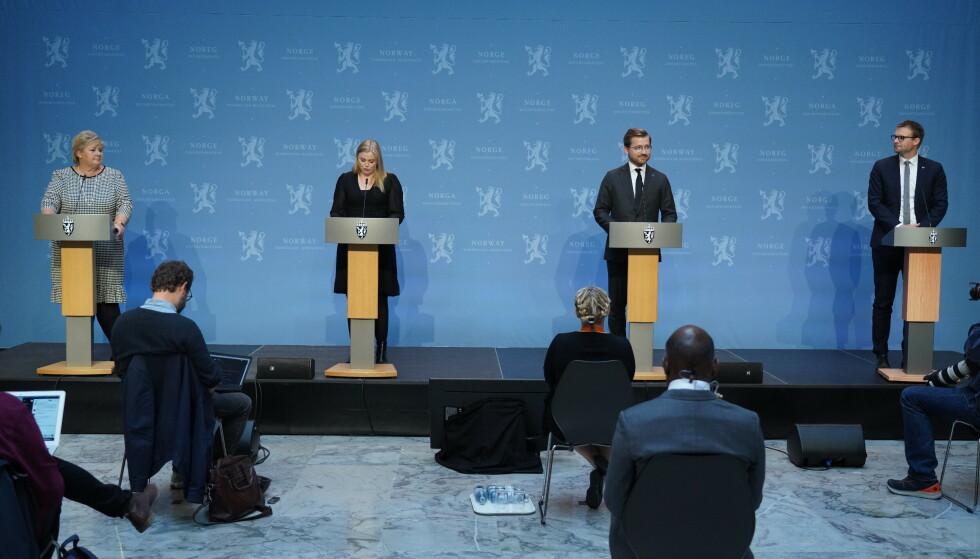 STILTE OPP: Sveinung Rotevatn har ikke takket ja til MWL-relaterte arrangementer - men de tre andre statsrådene på bildet har. Foto: Ole Berg-Rusten / NTB